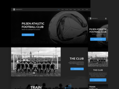 Pilsen Athletic FC black simple product design ui web design landing page design interface soccer sport