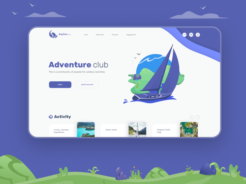 Adventure club. First screen dimusbaev vectors vector white minimalism minimal uidesign figma adobe illustrator illustration web-design ui design nature club yacht adventure webdesign ux ui