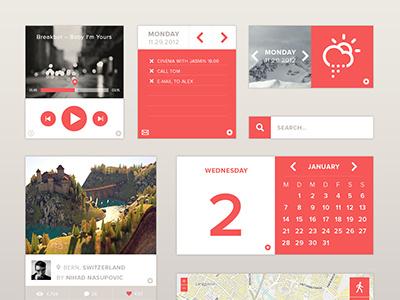 Widgets widget widgets mail dribbble search map weather calendar social player ui interface screendesign flat