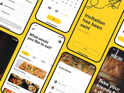 Meating - Social Food App app design xd adobe social friends lunch 2019 eats design ui ux flat food app