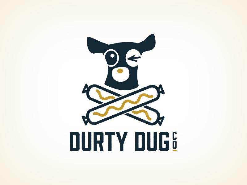 Durty Dug mustard line art restaurant hot dog scotland dog logo