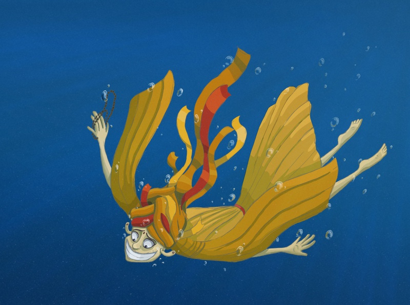 Buddhist under the Water underwater buddhism character drawing fun character design illustration