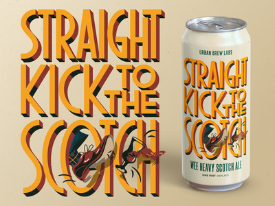 Urban Brew Labs: Straight Kick to the Scotch beer can illustration urban brew labs barrel aged beer rogue studio packaging dieline craft beer label packaging design graphic design branding custom illustration typography chicago beer beer packaging beer illustration beer can design illustration
