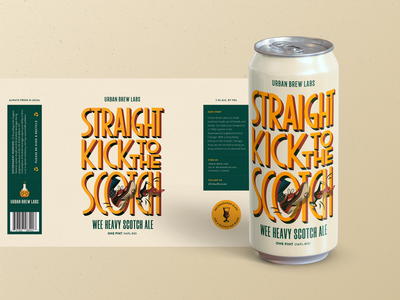 Straight Kick to The Scotch chicago scotch ale scotch craft beer packaging design urban brew labs graphic design custom illustration chicago beer beer packaging beer can beer illustration illustration typography branding design