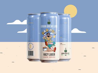 Dad Bod Lager craft beer label beer packaging beer illustration beer can packaging design graphic design typography illustration design branding