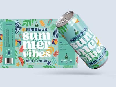 Summer Vibes vector brand design packaging illustration beer illustration packaging animation logo beer can packaging design graphic design typography illustration design branding beer packaging