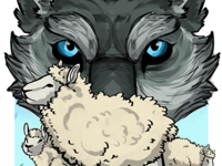 Wolf Eyeing Sheep