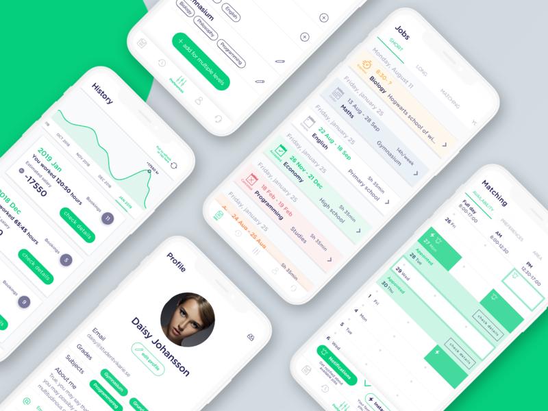 Studentvikarie mobile design clean uxdesign ux uiux app school app web ui design