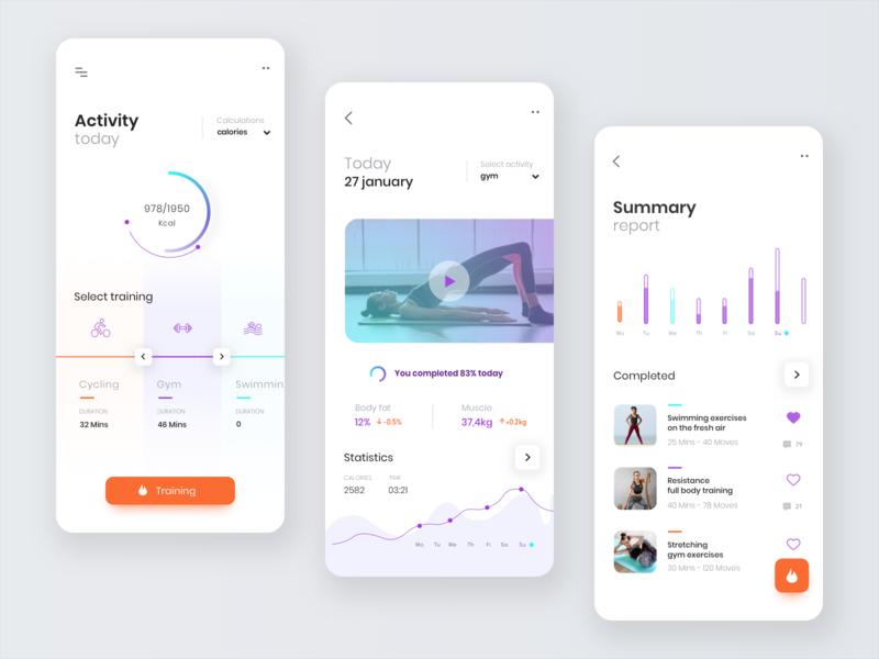 Activity app modern fit fitness app design mobile app