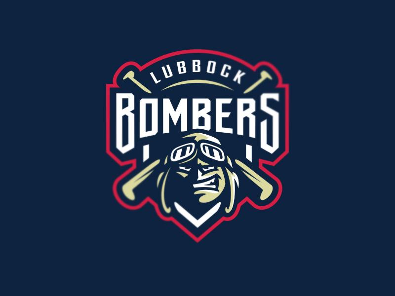 Lubbock Bombers graphic maniac aviator pilot baseball logo lubbock bombers mascot sports branding sports logo