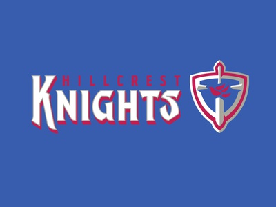 Hillcrest Knights graphic maniac lettering warrior shield dove crest hillcrest knights branding sports logo knignts