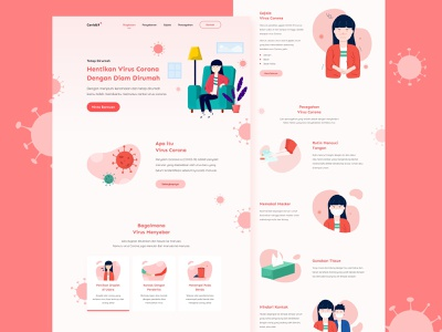Covid19 Landing Page web website covid19 girl red virus web design landing page ui design ui design shots