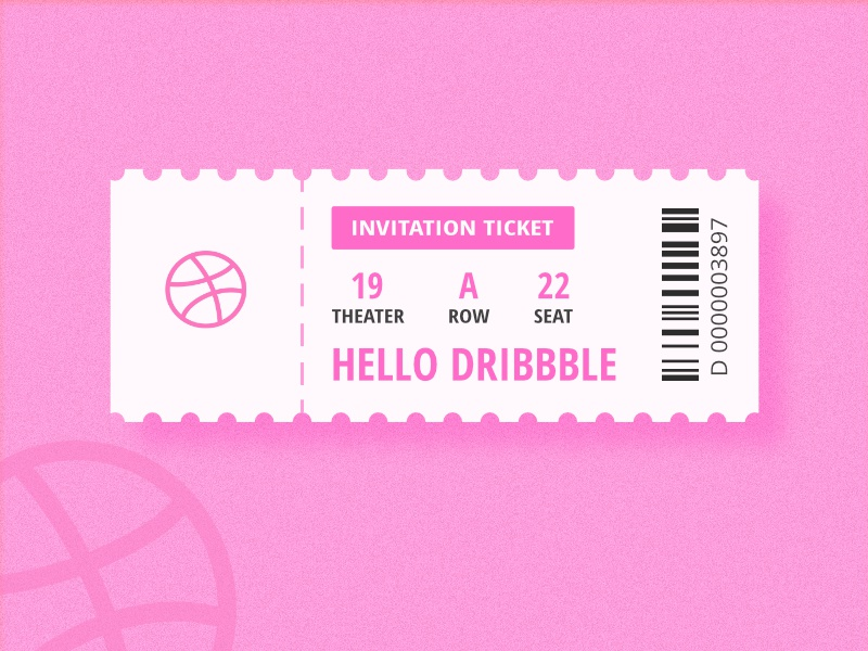 Hello Dribbble ! pink hello dribbble debut shots first