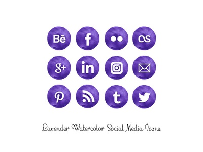 Lavender Watercolor Icons png social media icons lavender