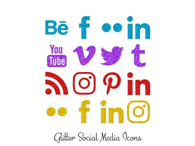 Glitter Social Media Icons icons png social media glitter