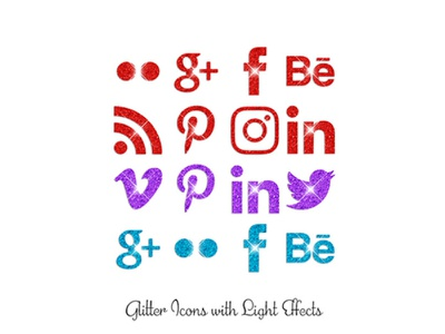 Glitter Icons with Light Effects png social media icons glitter