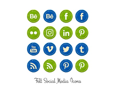 Felt Social Media Icons png social media icons fabric velvet felt