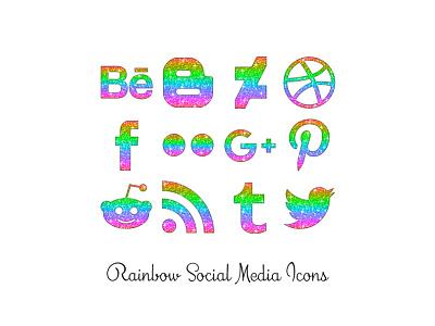 Rainbow Social Media Icons glitter social media icons png rainbow