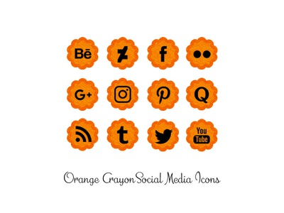 Orange Crayon Social Media Icons crayon png social media icons