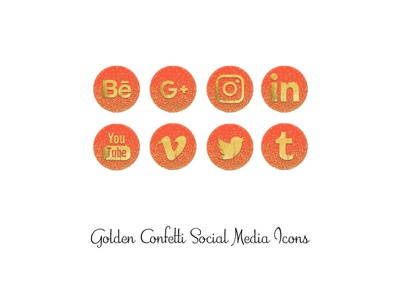 Golden Confetti Icons orange confetti gold png social media icons