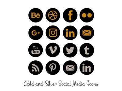 Gold and Silver Glitter Social Media Icons silver gold social media png icons