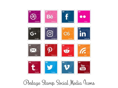 Postage Stamp Social Icons social media png icons stamp postage
