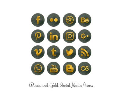 Black and Gold Watercolor Icons watercolor gold png social media icons
