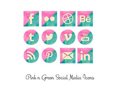 Pink & Green Watercolor Icons watercolor pink png social media icons
