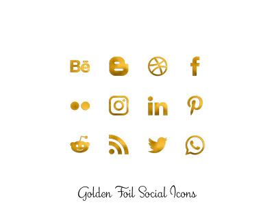 Golden Foil Icons foil gold social media png icons