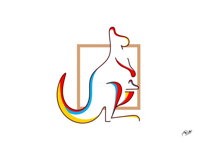 KANGAROO lineart color wildlife animal graphic design hand drawn flat logo minimal vector design illustrator simple illustration