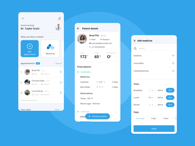 Medico - Clinic management concept clinical hospital app management app dashboad doctor appointment doctor app medical edit add home profile android app ios concept app product design adobe xd ui design ux