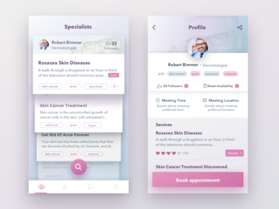 Skin Care Project app design app ios pink ui profiles tags colours shadows cards ui mobile ui user interface