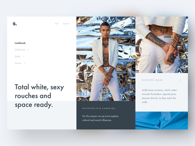 Fashion Lookbook Hero grid layout light blue blue futura font website hero shop ui ecommerce visual ecommerce ui e-commerce fashion