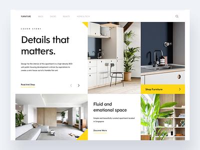 Architecture UI Shot furniture design interior design whitespace design grid style grid design typography design ui