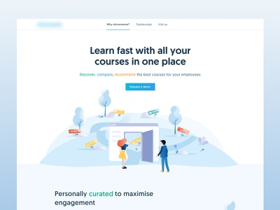Ofcourseme Website Hero blue typography ui branding vector illustration design