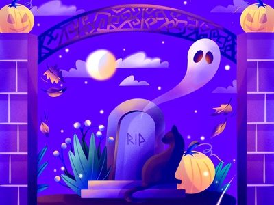Spooky view illustration illustrator halloween design halloween party spooky season dribbble best shot procreate graphicdesign drawing inktober spooktober halloween pumpkin cat spooky