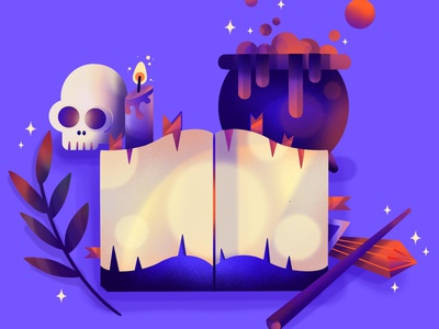 Spellbook witch magic magical procreate art flatdesign dribbbleweeklywarmup dribbble best shot halloween design halloween party halloween spooky season spooktober spooky procreate illustration illustrator