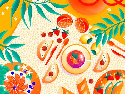Pique-nique champêtre design graphic design creation drawing artwork illustrator illustration