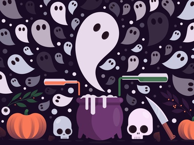 ghost invasion creation graphicdesigner spooky autumn wallpaper artwork illustration illustrator graphicdesign holidays flatdesign ghosts ghost party ghost skull halloween design pumkin halloween party halloween