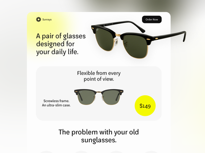 Sunglasses Landing Page trendy trend outlet homepage figma design figma sunglasses brand identity brand design branding color palette minimal landing page ux ui color combination typography design web website