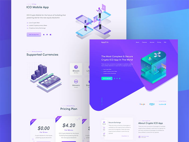 ICO App Landing web ui timer tech purple page landing isometric illustration dark crypto bitcoin