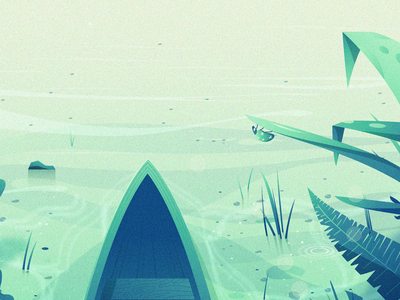 Green Valley (Snippet) boat sky landscape sun water clouds illustration
