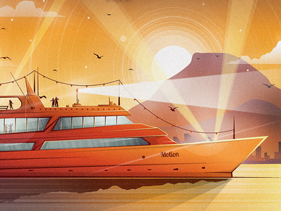 Boat boat poster illustration orange ship mountain landscape lights windows water vector illustraor