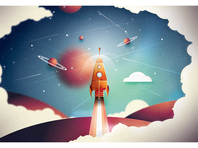 Colour rocket take off illustration rocket space planet smoke clouds design graphic stars window poster