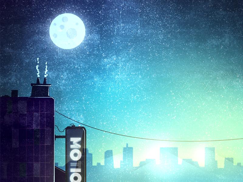 A Moon illustration rocket take off orange space planet smoke clouds buildings scene moon stars