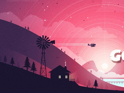 The Sky Was Pink illustration light water farm plane sky clouds poster artwork house valley nature