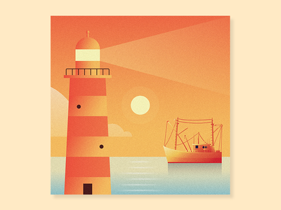 I'm On A Ship... ship water boat nature lighthouse sun weather texture geometry shapes illustration