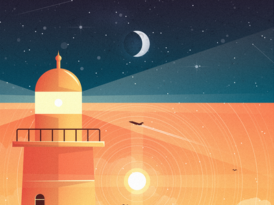 Day & Night illustration shapes geometry weather sun lighthouse nature water moon stars