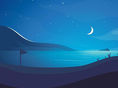 Blue Beach stars landscape sky nature sun moon illustration atmosphere