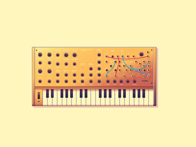 Electronic Synths Illustration design synthesizer music keyboard piano wires synth illustration